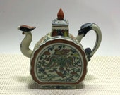 Chinese Antique Ming Dynasty Chenghua Guan Ware Style Doucai Porcelain Teapot.Rare China Imperial Art Vintage ceramic Collection
