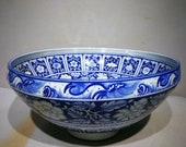 ues Yuan Dynasty Porcelain Blue and Whire Large Bowl Made in Minguo,Collectible Rare Vintage Ceramic Chinese Antiques Porcelain