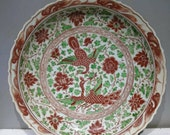 Late Yuan to Early Ming Dynasty Porcelain Underglaze Red Dragon Plate,Rare Vintage Chinese Royal Art Antique Ceramic Collection Porcelain