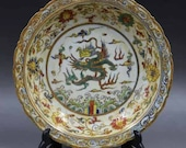 Chinese Ming Dynasty Chenghua Style Doucai Porcelain Plate Decorate with Gold Dragon,Exclusive Vintage Chinese Art Antique Guan Ware Ceramic