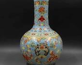 Qing Dynasty Kangxi Style Famille Rose Fencai Porcelain Big Tianqiu Vase,China Vintage ceramic collection Chinese Antiques Porcelain