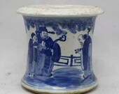 Qing Dynasty Kangxi Style Blue and White Porcelain Writing BrushPot,China Vintage ceramic collection Chinese Antiques Porcelain