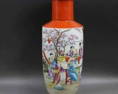 Qing Dynasty Kangxi Style Famille Rose Porcelain Big Mallet Vase,China Vintage ceramic collection Chinese Antiques Porcelain