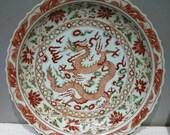 Late Yuan to Early Ming Dynasty Guan Ware Style Porcelain Underglaze Red Dragon Plate,Vintage Chinese Royal Art Antique Ceramic Collection
