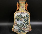 Chinese Antique Qing Dynasty Qianlong Guan Ware Style Famille Rose Fencai Porcelain Flat Square Vase.China Royal Vintage ceramic Collection
