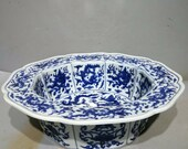Ming Dynasty Jiajing Guan Ware Style Blue and White Porcelain Brushwasher.Rare China Imperial Art Vintage ceramic Collection Porcelain