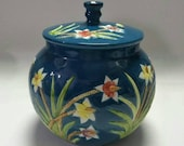 Qing Dynasty Qianlong Style Blue Ground Famille Rose Porcelain Tea Jar.Rare China Imperial Art Vintage ceramic Chinese Antiques Porcelain