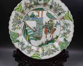 Qing Dynasty Kangxi Style Famille Verte Wucai Porcelain Plate,China Vintage ceramic collection Chinese Antiques Porcelain Christmas Gifts