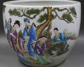 Qing Dynasty Kangxi Style Famille Rose Porcelain Big Pot,China Vintage ceramic collection Chinese Antiques Porcelain Christmas Gifts