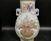 Chinese Antique Qing Dynasty Qianlong Guan Ware Style Famille Rose Fencai Porcelain Vase.China Royal Vintage ceramic Collection