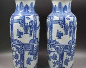 Pair of Qing Dynasty Kangxi Style Blue and White Porcelain Big Mallet Vase,China Vintage ceramic collection Chinese Antiques Porcelain