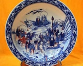 Qing Dynasty Kangxi Style Blue and White Doucai Porcelain Big Plate,China Vintage ceramic collection Chinese Antiques Porcelain