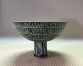 Ming Dynasty Jianwen Guan Ware Style Blue and White Porcelain Stem Bowl.Rare China Imperial Art Vintage ceramic Collection Chinese Antiques