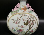 Chinese Antique Qing Dynasty Qianlong Guan Ware Style Famille Rose Fencai Porcelain Moonflask Vase.China Royal Vintage ceramic Collection