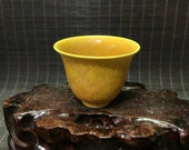 Ming Dynasty Hongzhi Style Yellow Ground Glaze Porcelain Cup.Rare China Imperial Art Vintage ceramic Collection Chinese Antiques Porcelain