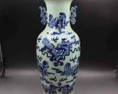Qing Dynasty Kangxi Style Blue and White Porcelain Big Vase,China Vintage ceramic collection Chinese Antiques Porcelain Christmas Gifts