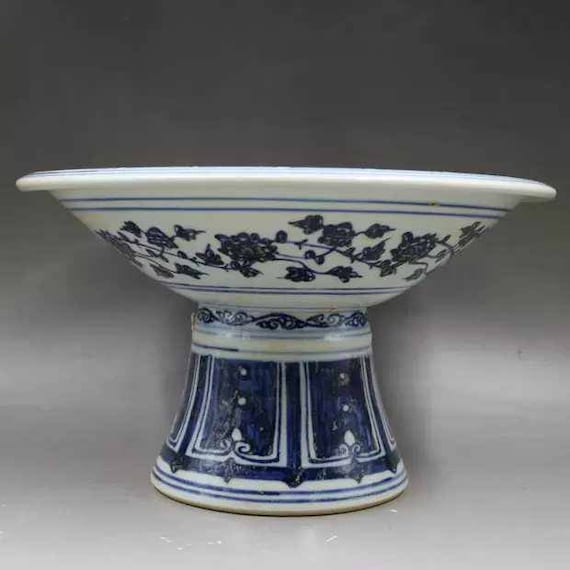 Chinese Antique Ming Dynasty Xuande Guan Ware Style Blue and White Underglaze Red Porcelain Stem Bowl.China Royal Vintage ceramic Collection