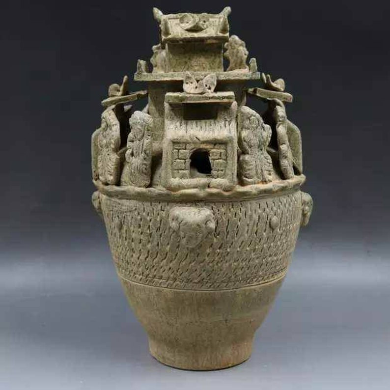 Chinese Antique Five Dynasty Yue Ware Style Porcelain Celadon Barn,Gucang,Granary.Rare Vintage China Royal Art ceramic collection