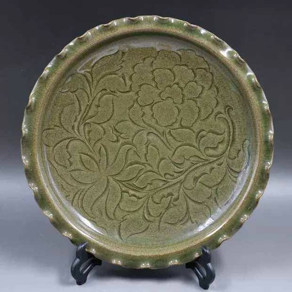 Chinese Antique Song Dynasty Yaozhou Ware Style Porcelain Carved Celadon Dish Plate.Rare Vintage China Royal Art ceramic collection
