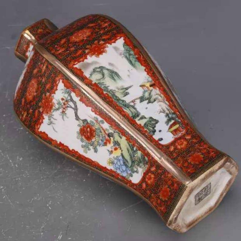 Qing Dynasty Qianlong  Style Colour Enameled Falangcai porcelain Moonflask vase antique vase ceramic collection Chinese Antiques Porcelain