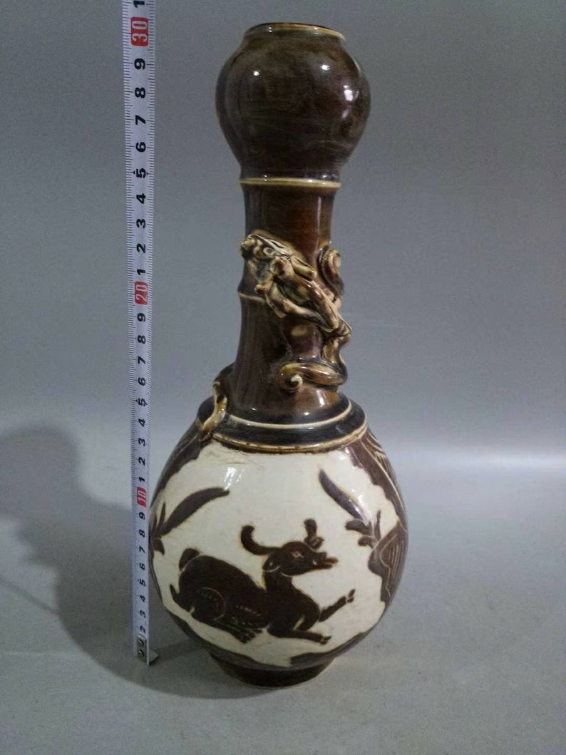 Chinese Antique Song Dynasty Ding Ware Style Brown Color Porcelain Garlic Head Vase,Rare Vintage China Royal Art ceramic collection