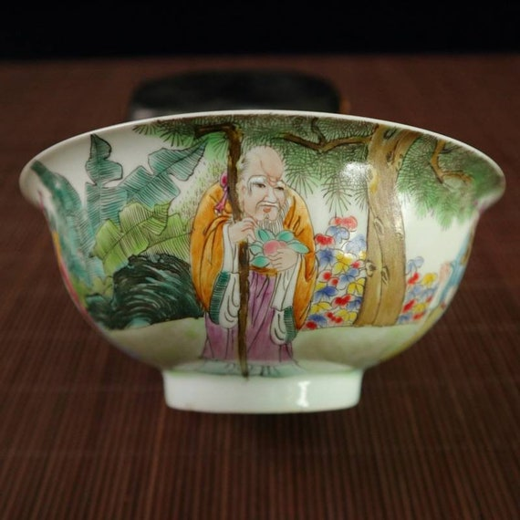 Chinese Antique Qing Dynasty Shendetang Guan Ware Style White Famille Rose Fencai Porcelain Bowl.China Royal Art Vintage ceramic Collection