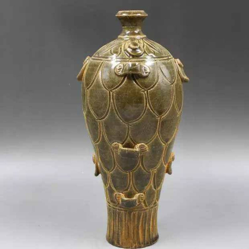 Chinese Antique Five Dynasty Yue Ware Style Porcelain Celadon Oil Lamp.Rare Vintage China Royal Art ceramic collection