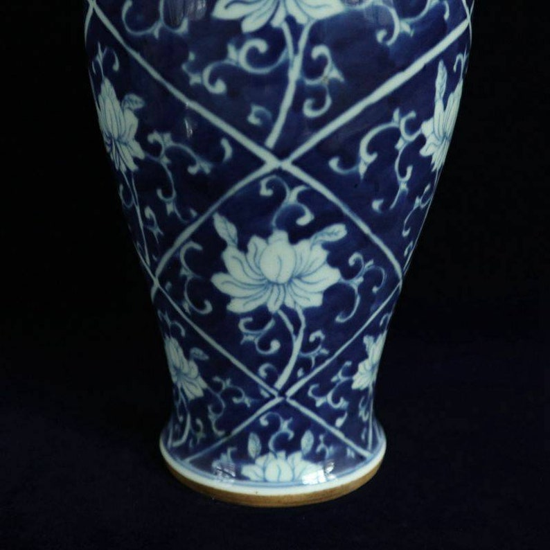 Antique of Chinese Qing Dynasty to Minguo Style Blue and White Porcelain General Tank Jar,Rare China Royal Art Vintage ceramic collection