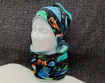 | dinosaurs in space Beanie with Loop | | individually or as a set Winter - Autumn - Transition