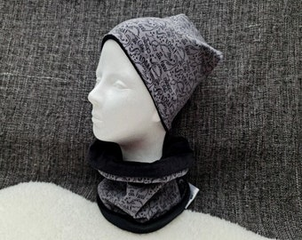 Mini dinos dark | Beanie with Loop | | individually or as a set Winter - Autumn - Transition