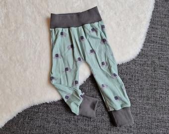 "Pump pants ""Elephant mint"" | Size 74 | Baby pants | soft cuffs | growing | B-WARE"