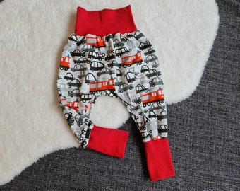 """Pump pants """"vehicles""""   Size 86/92   Baby pants   soft cuffs   growing with"""