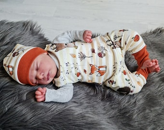 Forest animals in autumn | Baby romper double-layered | Autumn - Spring - Transitional period