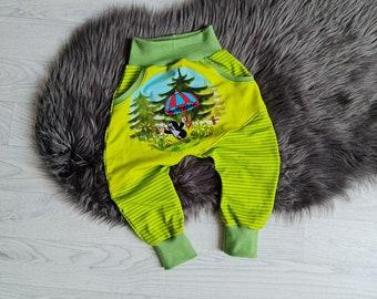 Growing pump pants | Size 86 | Motif: Mole Pauli green in autumn