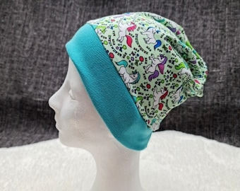 Colorful little unicorns | Cap with cuffs | Autumn - Spring - Transitional period