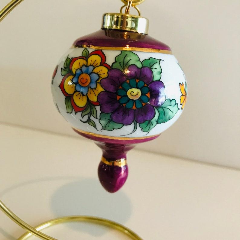 Hand painted porcelain ornament