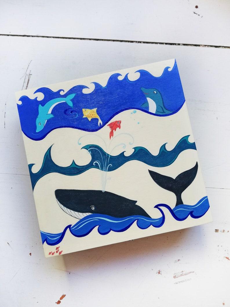 Children/'s box Hand-painted wooden storage box \u201cWater World\u201d Unisex wooden box Hand-painted box