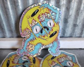 "Smiley B Minus 3"" Holo-Glitter Sticker"