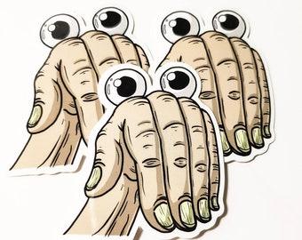 """Googly Hand 2"""" Sticker"""