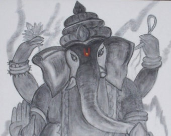Lord Ganesh - Charcoal on canvas