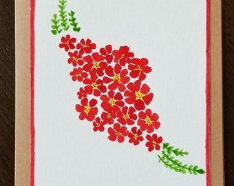 Hand Painted Watercolor Greeting Card - Red Flowers