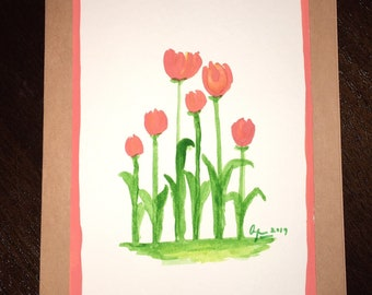 Hand Painted Watercolor Greeting Card - Tulips