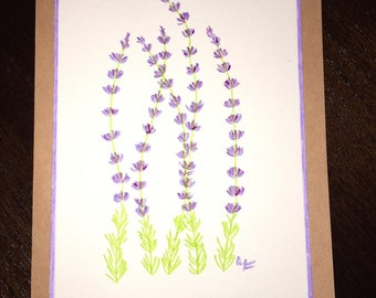 Hand Painted Watercolor Greeting Card - Lavender