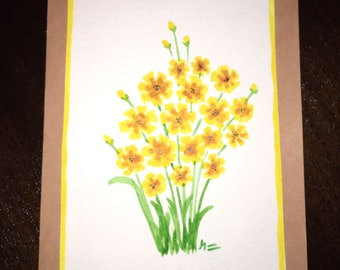 Hand Painted Watercolor Greeting Card - Yellow Flowers