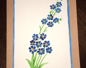 Hand Painted Watercolor Greeting Card - Blue Flowers