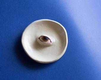 Brown eye handmade small trinket dish stoneware