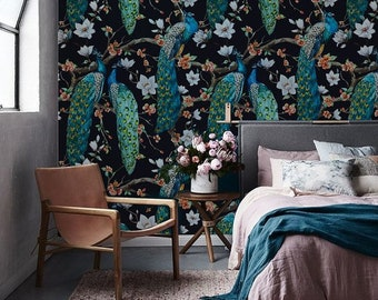 Peacock removable Wallpaper - traditional - white Print wall mural - Self Adhesive Wall Decal - Temporary Peel and Stick