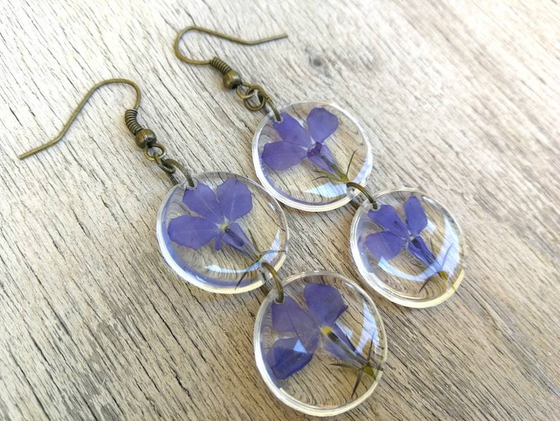 Closed bronze-colored open monachella handmade In transparent resin Earrings with pressed blue flowers Height 6 cm