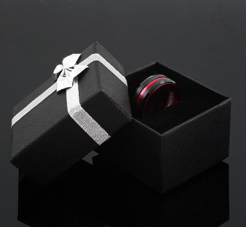 Red Tungsten Wedding Band Black Tungsten Ring Men /& Women Tungsten Carbide Ring Anniversary Ring Tungsten Ring Engagement Ring