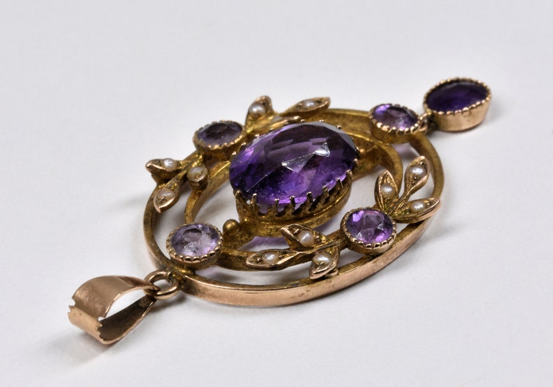 c1880 Antique Victorian 9ct Gold Amethyst /& Seed Pearl Pendant